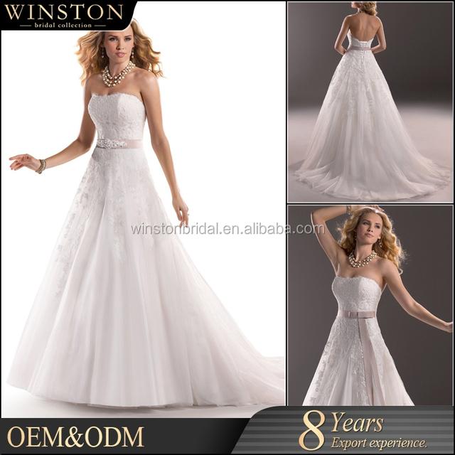 New Luxurious High Quality fabric wedding dress 2015