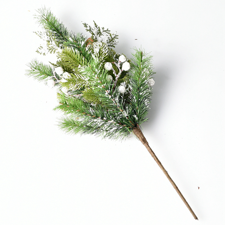 pvc pine needle christmas floral picks with snow berry and mixed leaves pine cone barks artificial picks buy christmas picksartificial picks christmas