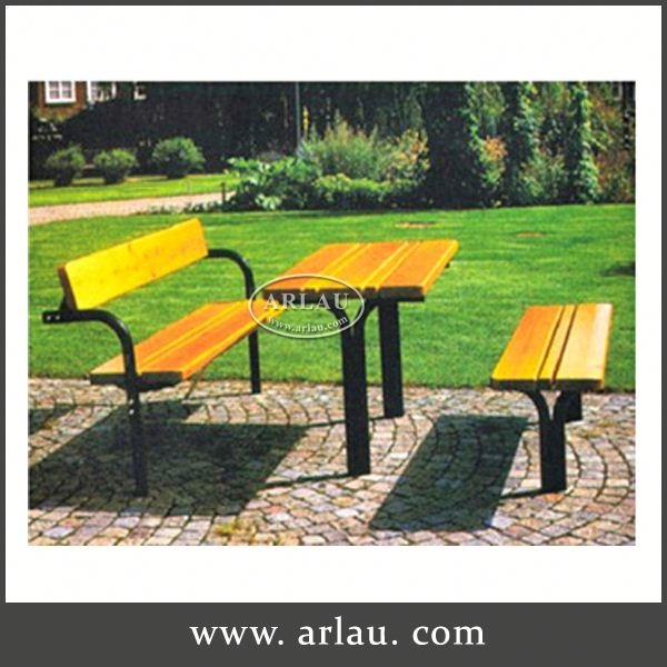 Arlau Tabel Leg And Wood Table Top, Outdoor Wooden Table And Bench, Rectangle Long Wooden