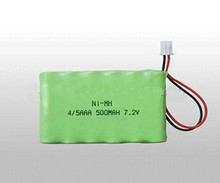 UL/CE/ROHS CERTIFICATED 4/5 AAA 500mah 7.2v nimh battery pack