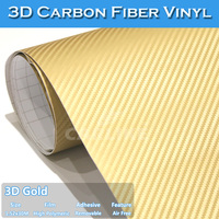 5 x 98FT Air Free Apply Any Flat Surface Gold Car Wrapping 3D Carbon Folie