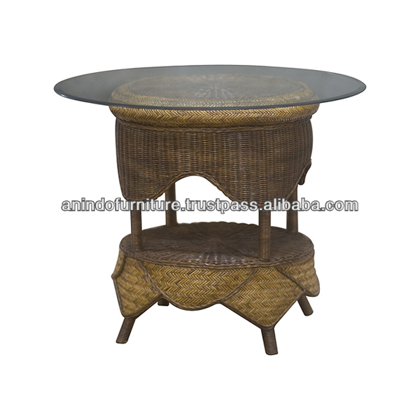 Moroccan Rattan End Table with Glass Top