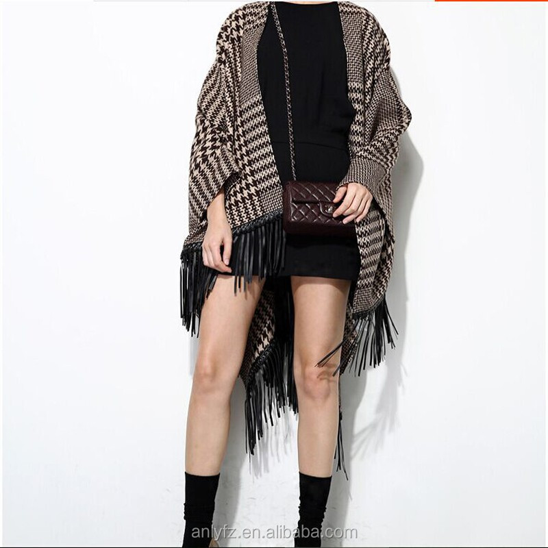 hot sale bat-like shirt fashion cloak shawls knitted cardigan fringed sweater for women