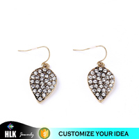 Euro-Pop Luxury Retro Set Leaves Women's Mini Simple Drops Inlay Glass Crystal Dangling Earrings