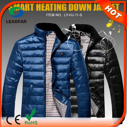 Battery rechargeable heat fishing garment shenzhen with earphone