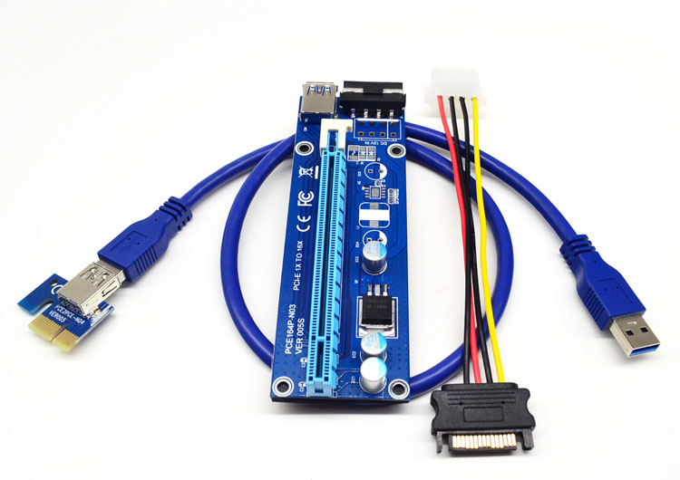 60cm USB 3.0 PCIe X1 TO X16 with power supply cable / PCI-e 1x to 16x Adapter