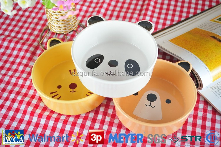 Lovely animal shape ceramic pet bowl for promotion