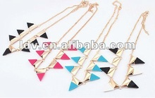 Metal small triangle necklace colorful jewlery
