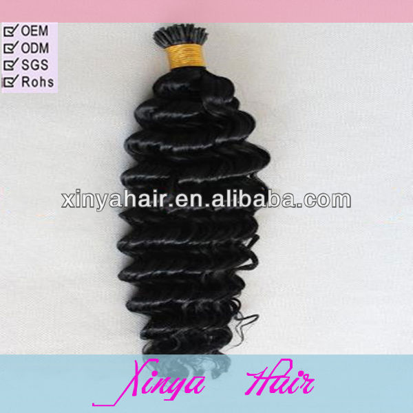 Reasonable Price and Best Quality Deep wave i tip 100% virgin indian remy hair extensions