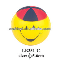 yellow smile face with red hat dolls anti stress ball custom pu ball promotion toy ball