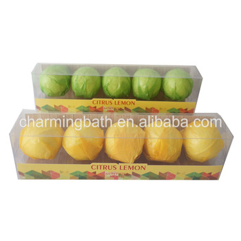 Good quality colorfu 5*30g roundl bath bomb gift set in pvc box
