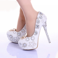 Spring Bowtie Rhinestone Wedding Shoes White Pearl Genuine Leather Handmade Ultra High Heel Bridal Dress Shoes Wedding Accesory