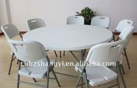 6ft white plastic folding round table in home&garden