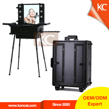 NEW design lights aluminum makeup case with drawers,decorative box,metal tool box with stands,legs,lights,mirror