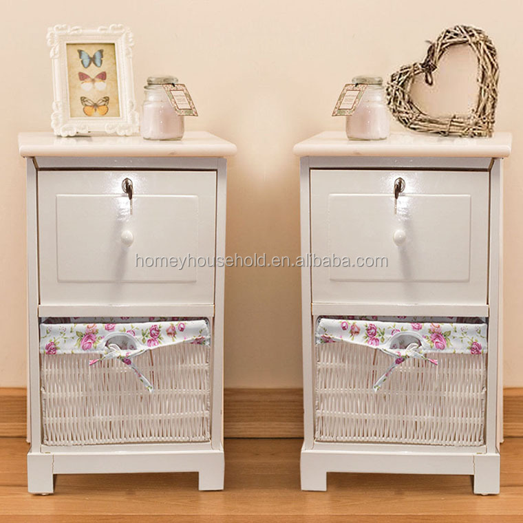 Shabby Chic Modern Glossy Storage Bedside Table Cabinets