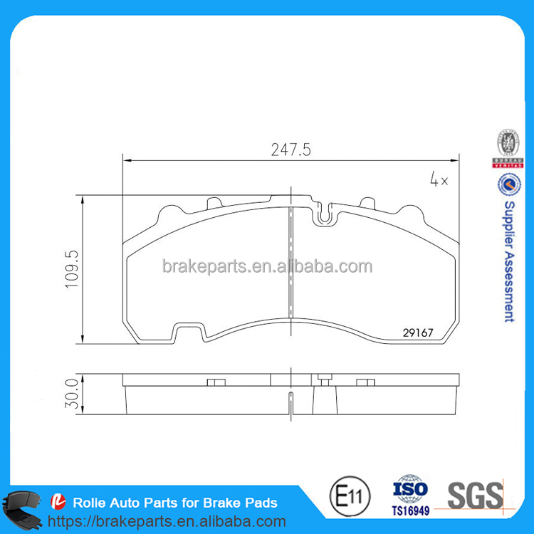 WVA29167 High Quality Heavy Duty Truck Brake Pads Replacement Parts for Brake System