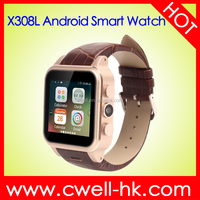 1.54 inch Dual Core Single SIM 3G WCDMA WIFI Aluminum Alloy Body Leather Band Android Smart Watch Mobile Phone Smart X308L