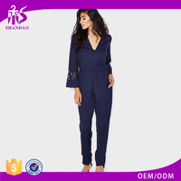 Autumn New Elegant Women Long Bell Sleeve Navy Cotton V Neck Jumpsuits