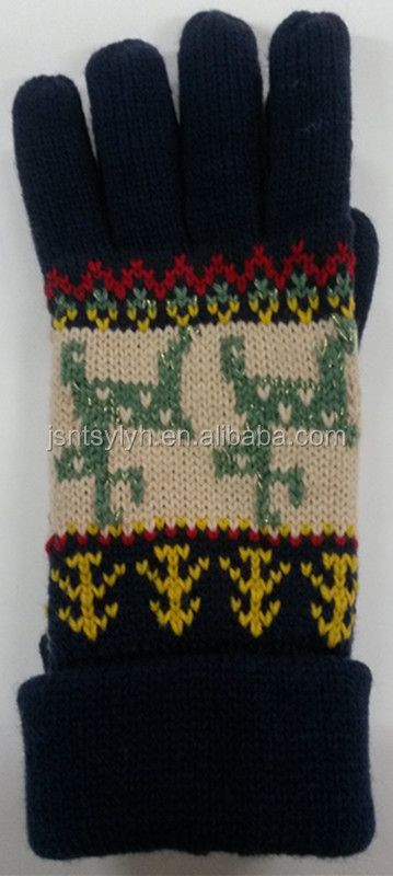 Wholesale Korean design Knit Christmas reindeer Gloves and Mittens
