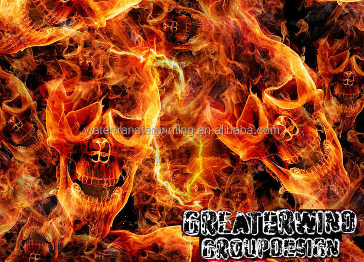 wawater transfer printing supplies Crazy Flame PVA Hydrographics film Hydrographic film GWR006 Yellow flame Skull