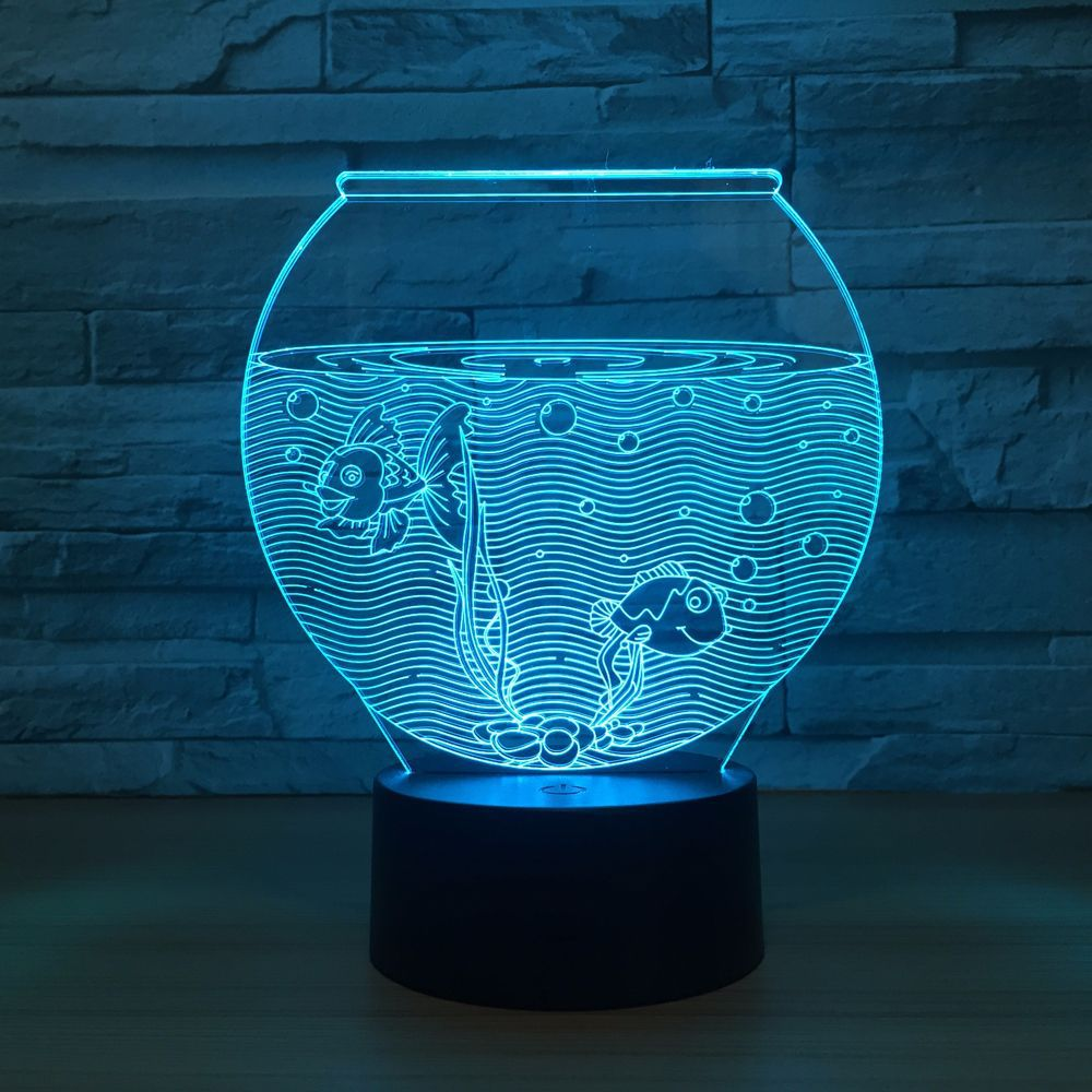 ZOGIFT 7 Colors Display LED Lamp Fish tank 3D Night Lights with 3D Illusion