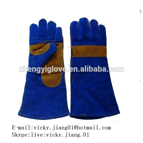 Blue Cow Split Leather fire resistant thread stitching Welding Gloves