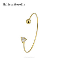 Melissa&Rosella 14K Gold White Gold Plated 2017 New Wedding Jewelry Zircon Ball Bangle Bracelet
