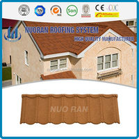 Nuoran new element construction steel material green back blue glazed roof tile latest design