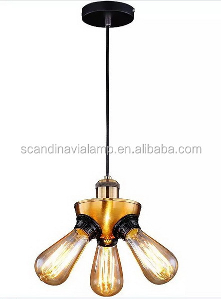 Vintage Bare bulb filament triple Pendant lamp