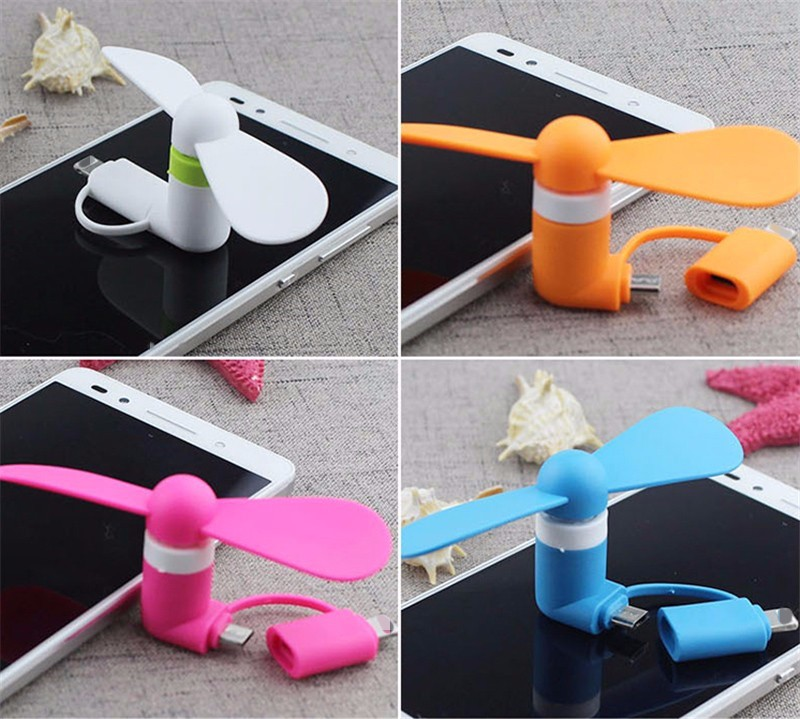 Portable 2 IN 1 Travel Mini usb Fan Cooling For Micro USB For iPhone 5 5S SE 6 6S 7 Plus 8 Pin for Android Phone S6 S7 edge