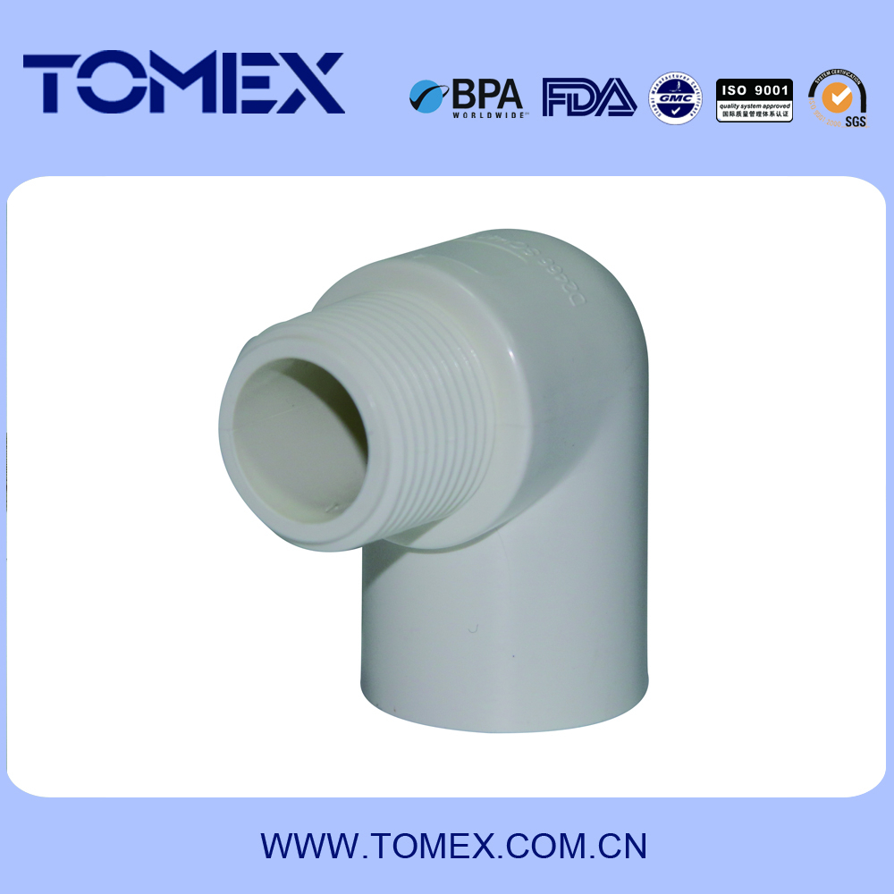 2015 China supplier plastic type pvc pipes and fittings pvc white shedule 40 threaded ends 90 degree male elbow