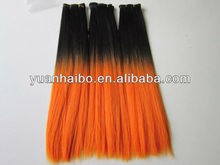 Hot Selling! 10-30inch two tone color black/orange silk straight cheap synthetic ombre hair weft