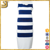 Wholesale trendy design brand women elegant stripe casual dress