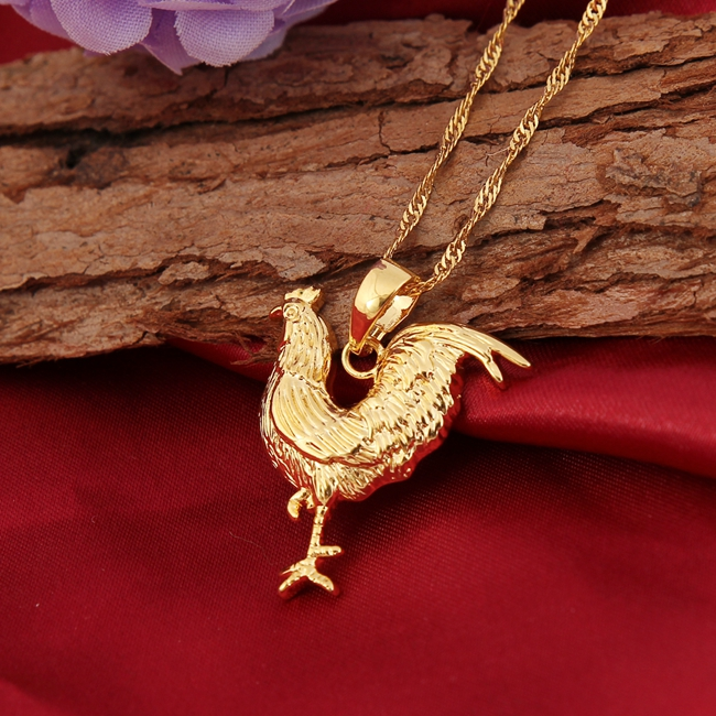18k jewelry gold animal pendant cock chicken accessories for women jewelry