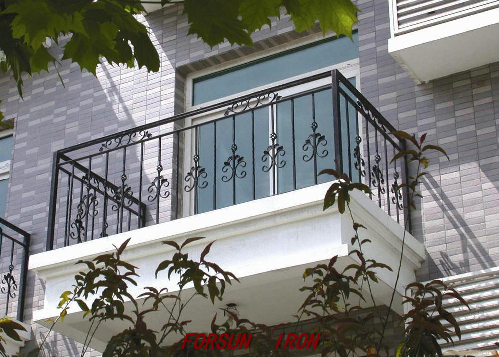 Wrought iron balcony railing designs ornamental elegant for Exterior balcony railing design