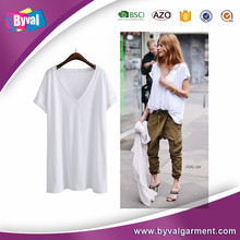 Customize loose pure color v collar t shirt women's t shirt for wholesale