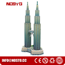 World architecture 3d famous buildings puzzle Twin Towers miniature building model