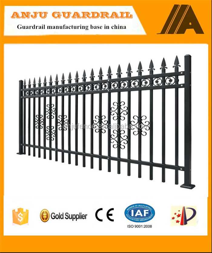DK-003 PVC coated black spear top protective fence metal solid panel
