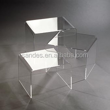 Pure Lucite Unique Plastic Side Table Clear Acrylic Mini End Table