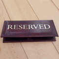 RESERVED | menu table sign leather look table top | cafe pub hotel RESTAURANT