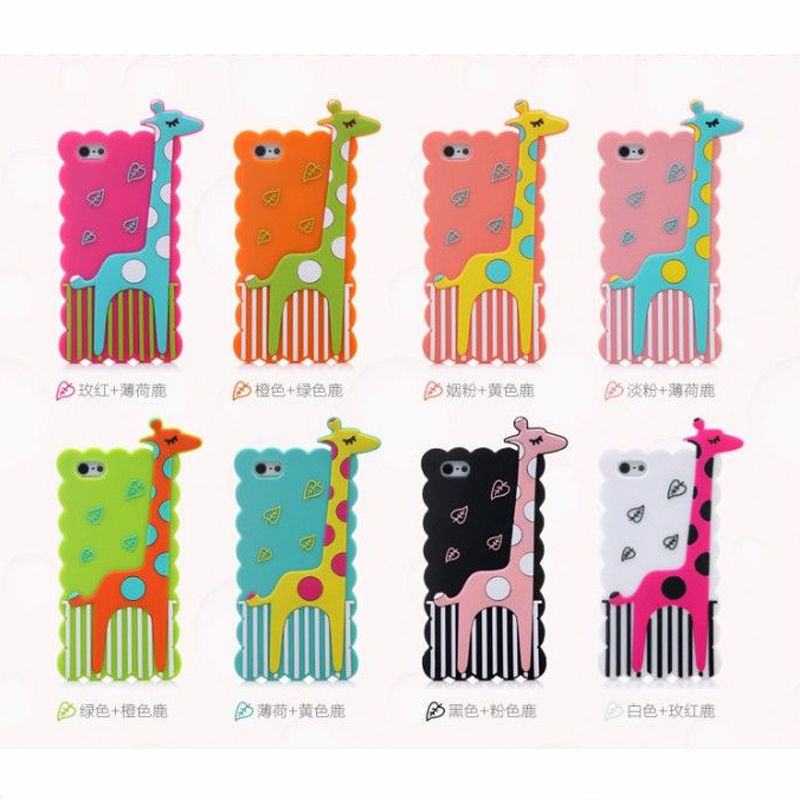 Polka Dot giraffe cute design silicone case for Apple iPhone 5 5s,alibaba express cell phone case