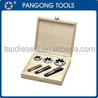 6PCS Hand Threading Tool Metric HSS Tap Die in wooden box