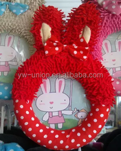 Round shape bunny photo frame toy , soft plush frame for baby photo ,7*8 photo frame