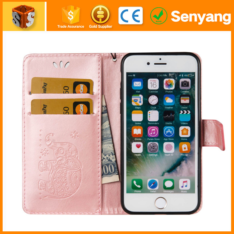 phone accessories mobile Leopard wallet leather case for iPhone 6S plus