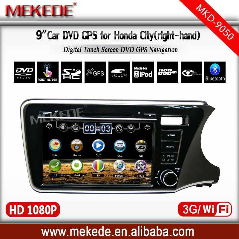 "HD 2 din 9"" MTK800MHZ Dual core Car Radio DVD Player for Honda CITY (Right) 2014 With 3G/WIFI radio video 10EQ Band"