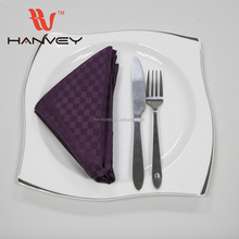 Factory price hotel and restaurant standard cloth size table rhinestone ring folding design brown napkin