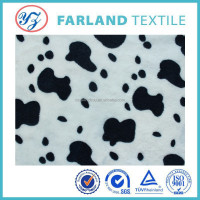 100%polyester pv plush fabric French style Fleece Knit Fabric Big Black cow on Ivory By The Yard