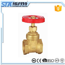 ART.4013 CW617n forged brass water gate valve 3 inch red handwheel natural brass color BSP thread connection with ISO cetificate