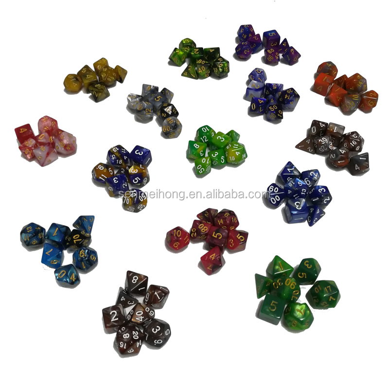 1 set of 7 sided dice D4 D6 D8 <strong>D10</strong> D12 D20 for dungeons and dragons dice dados rpg