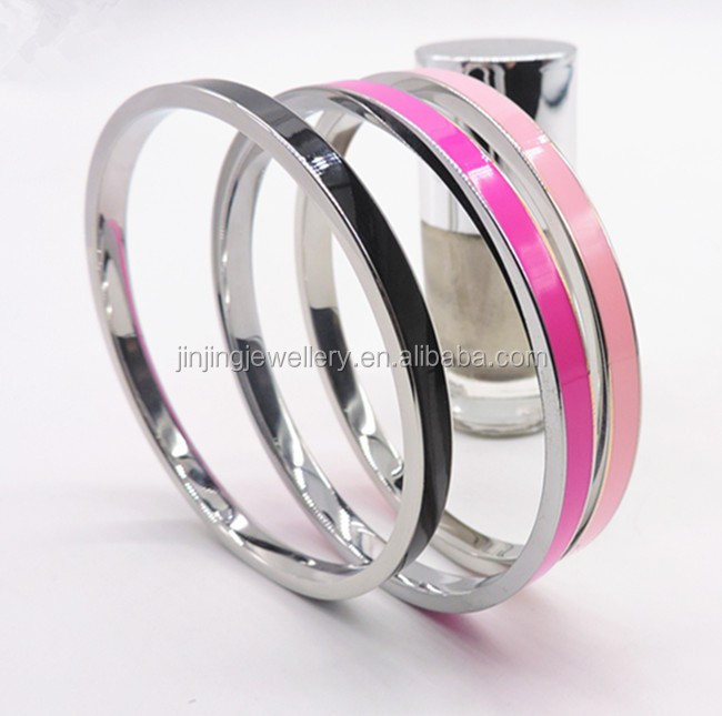 Popular and Plain Design Stainless Steel Mirror Polished Hot Sale Enemal Cuff Bangle